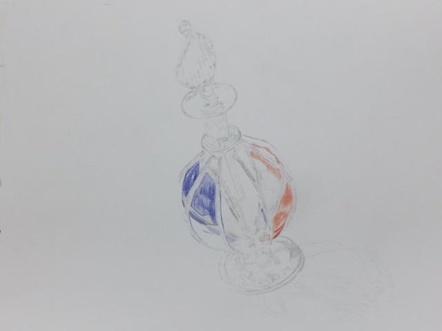 色鉛筆 香水瓶 メイキング