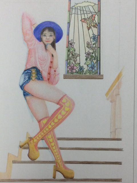 色鉛筆 ジョジョ風イラスト メイキング