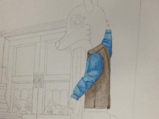色鉛筆 三匹の子豚 童話 メイキング